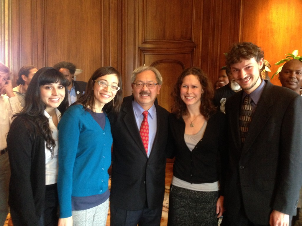 Mayor Lee with Roxanne Shell, Meredith Desautels, Michelle Rodriguez, and LSPC Policy Director Jesse Stout